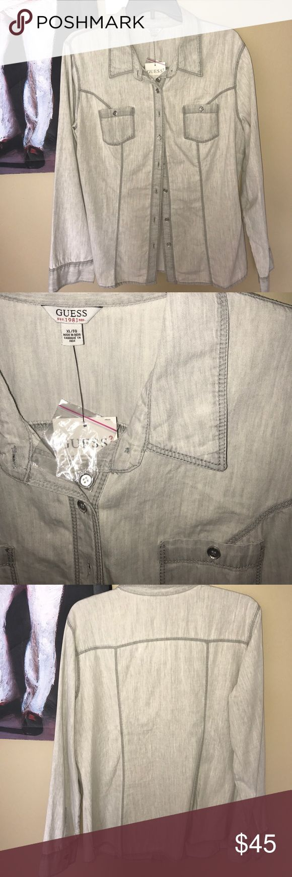 Guess Ash Grey Shirt New. Stylish light grey shirt. Open to offers Guess Tops Button Down Shirts