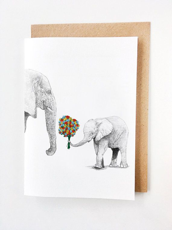 Mama Elephant & Calf | Sweet Mother's Day Card, Mom Birthday Card, Handmade, Fête des mores, Madre, Muttertag, Card for mom, Thanks Mom