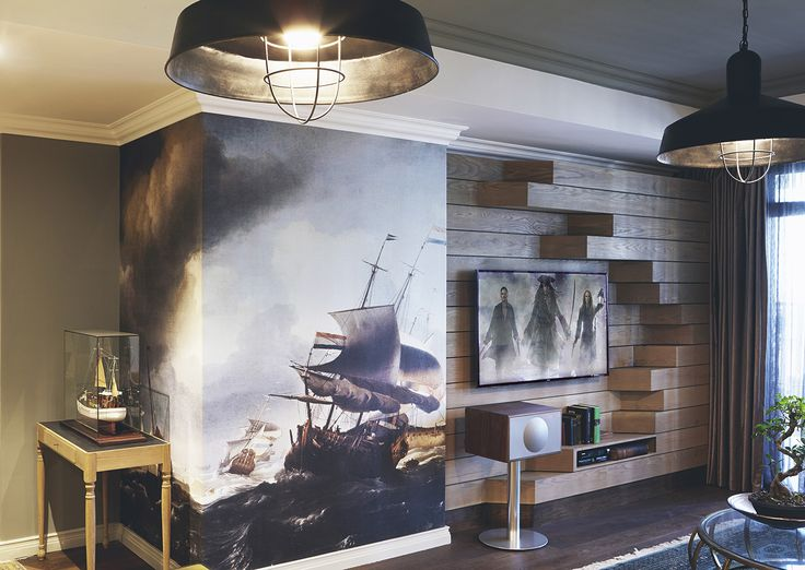 Gentlemen | TV room | Lounge | Wall Unit | Geneva sound | Tv unit | Model Ship | Wallpaper | Old Ship | Wallprint | Oak | Dusted moss | Copper table | James Mudge | Apartment | Interior design | Etienne Hanekom Interiors