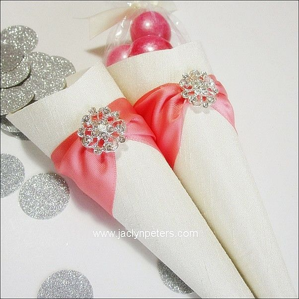 Coral U0026 Ivory Silk Shantung Wedding Favor Cones Set With Rhinestone Brooch  Of 25