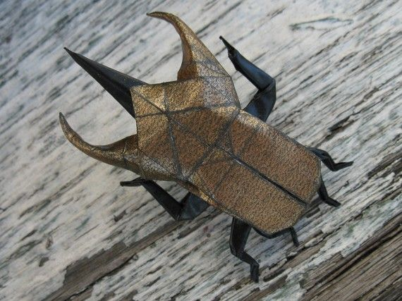 origami atlas beetle pin by catamation on Etsy, $24.00