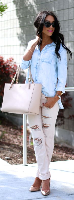 Blue And Blush Casual Style by The Glittering Life