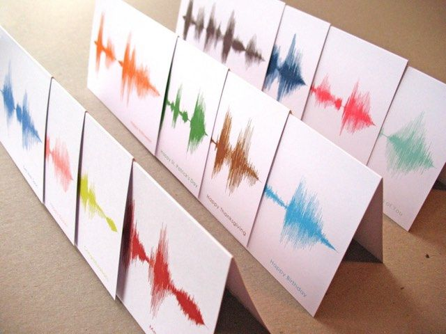 Sound Waves Greeting Cards | The art you see on these greeting cards is created from the sound waves recorded from spoken greeting phrases like Happy Birthday, Congratulations, Get Well Soon and many more.