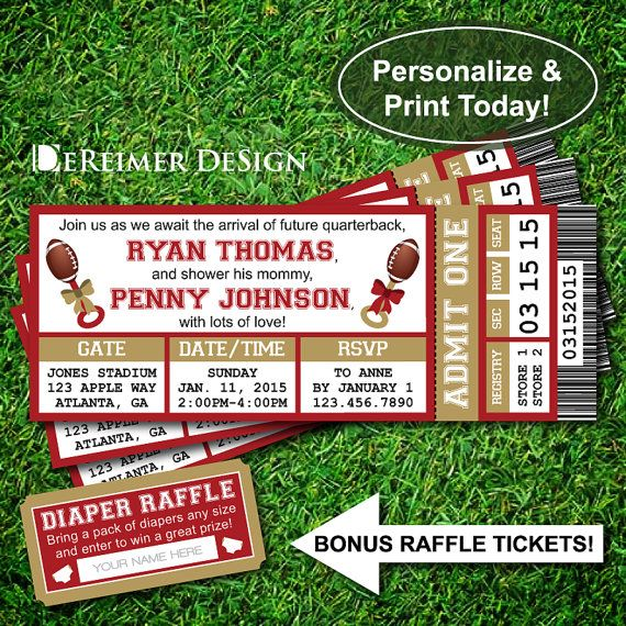 Sports Ticket Baby Boy Shower Invitation, 49ers, San Francisco, Football, Maroon and Gold, Instant Download, DIY, Diaper Raffle Tickets by DeReimer DeSign for only $10