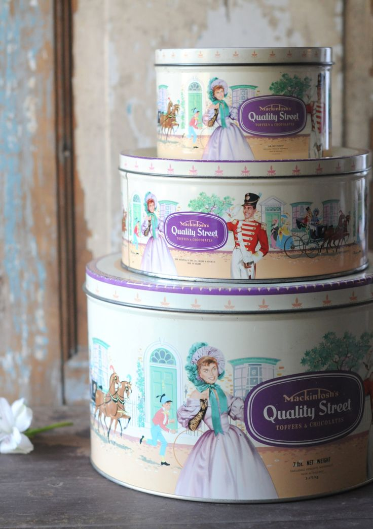 Quality Street Mackintosh Litho Tins. 3 Chocolate Tin Boxes - 1960s . Collectible. Shabby Cottage Chic. Vintage by FridasVintage on Etsy
