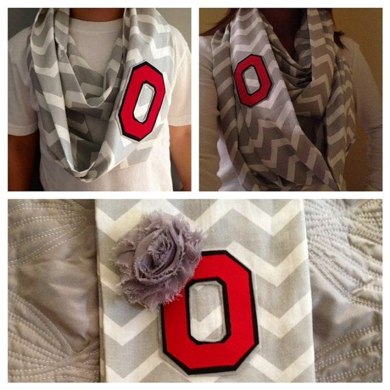 Awesome gift idea!  Iron-on college letter onto a chic scarf!! This one is a Ohio State scarf