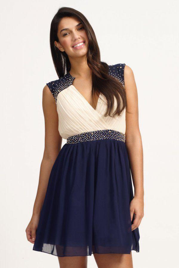 Little Mistress Cream & Navy Embellished Crossover Prom Dress