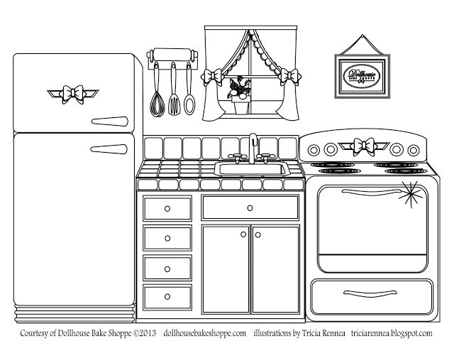 A coloring page, decorate your own kitchen from @Lindsay Dillon Ann - Dollhouse Bake Shoppe