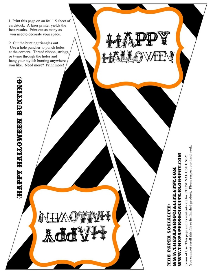 free halloween bunting printable - Halloween Decorations Printable
