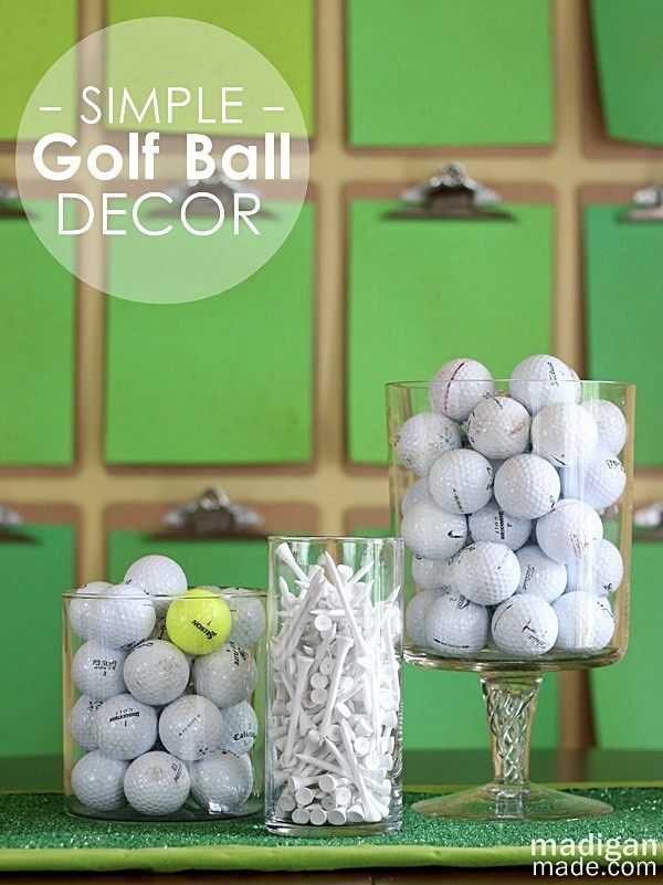 Golf ball decor idea - fun for a sports room or golf themed party!  It's about more than golfing,  boating,  and beaches;  it's about a lifestyle  KW  http://pamelakemper.com