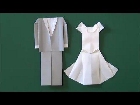 """結婚式・新婦「ウエディングドレス」折り紙Marriage ceremony""""Wedding dress"""" origami - YouTube"""