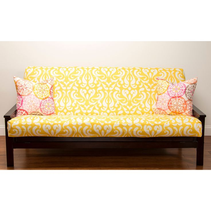 The Adele Yellow Futon Cover Is A Bright And Vibrant Addition To Your Home Decor Polyester Fabric Machine Washable Three Sided Zipper Adds