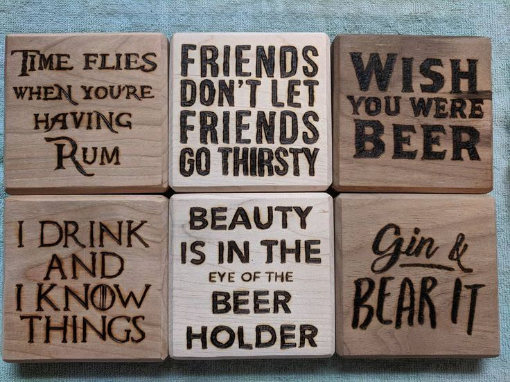 Coast through life with a little alcohol ... #woodworking #coasters #alcohol #woodburning #woodshop #projects #fun #woodshop #walnut #cherry #maple #handcrafted #diy #handmade #homemade #create #design #puns #gin #beer