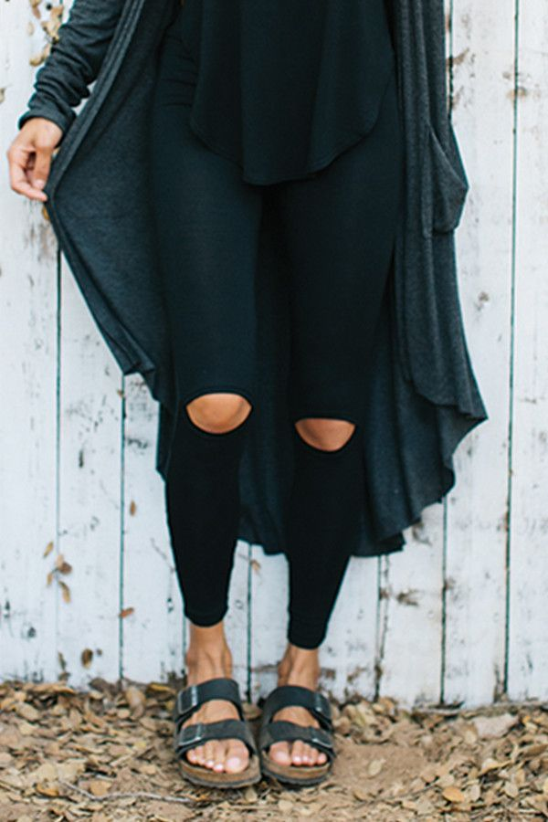 Cut loose, babes! These leggings offer just enough flash with cut out knees and an elastic waist. Made for a styled up hike, errands or a night out, you won't want to take these babies off.