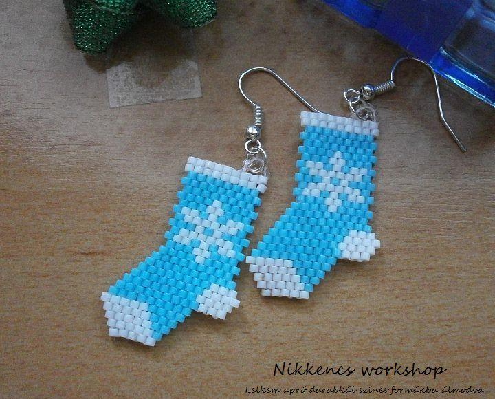 Kék karácsonyi zokni fülbevaló