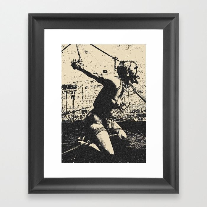 Slave girl BDSM Bondage, dark fetish dungeon, sexy blonde on her knees, tied, gagged Framed fine art print on natural white, matte, ultra smooth, 100% cotton rag, acid and lignin free archival paper using an advanced digital dry ink method to ensure vibrant image quality. #society6 #framed #art #prints