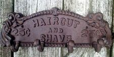 Cast Iron Barber Shop Sign Hook Towel Rack Bath Haircut & Shave Vintage…
