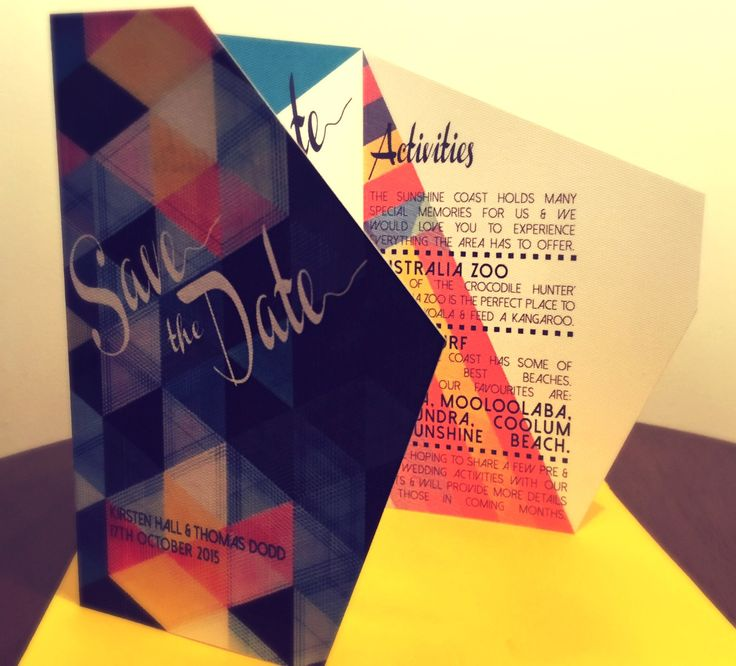 Geometric colour Save the Date. Go to www.lovemytype.com