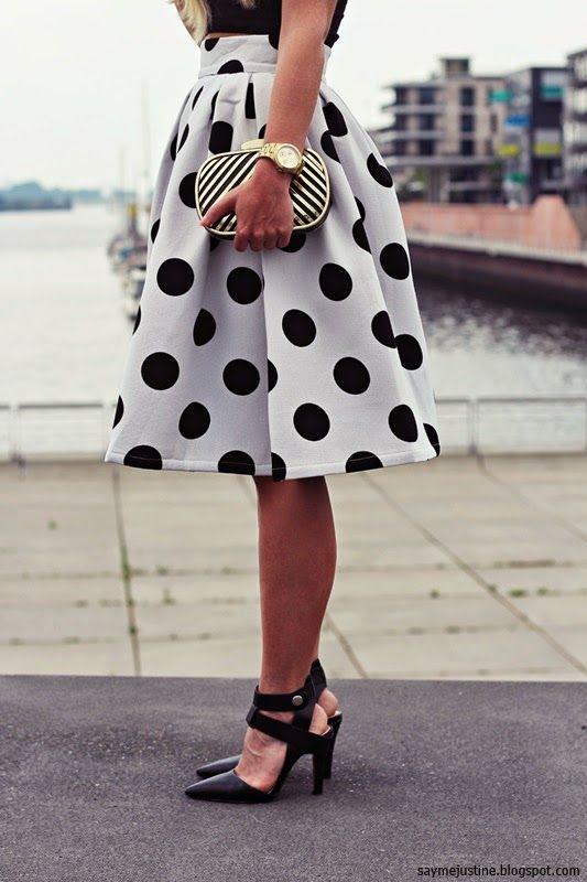 SO CUTE! Love the Black and White Polka Dots! Black and White Polka Dot Skater #Black_and_White #Dots #Polka_Dots