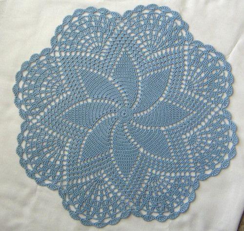 "Hand Crocheted Doily 14-1/2"" round Centerpiece Delft Blue pinwheel NEW"