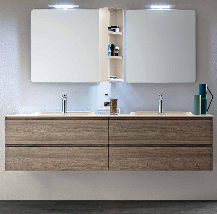 Mobile da bagno sospeso con doppio lavabo Hito Arblu