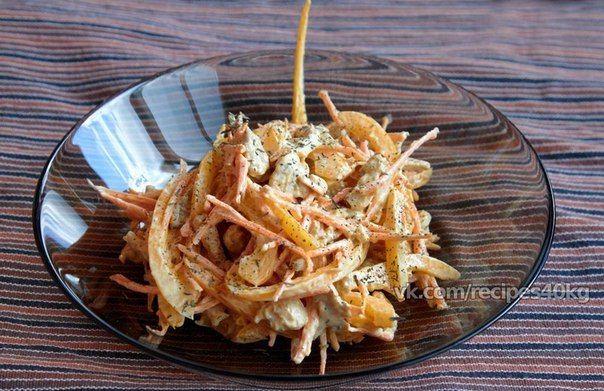 Легкий фитнес-салат с курицей  Итого на 100 грамм - 58 ккал: Белки- 8 Жиры - 1 Углеводы - 5