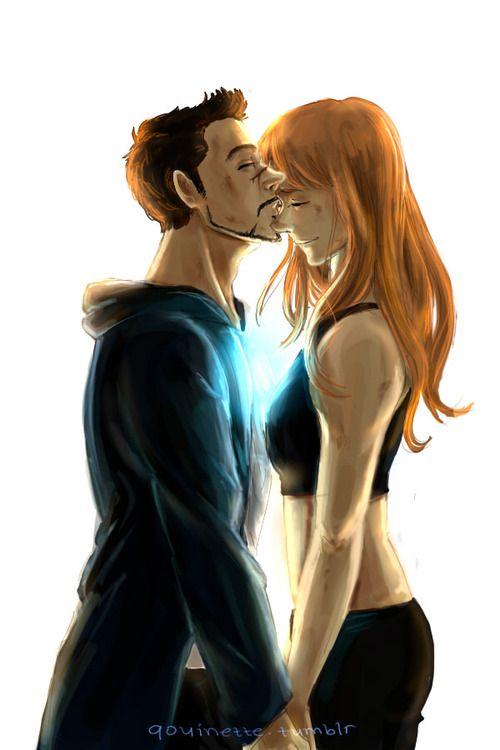 Pepper tony kiss and Tony Stark's