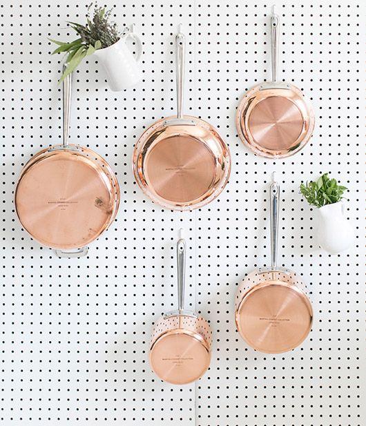 copper pots + pegboard / @sfgirlbybay