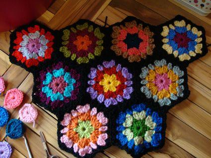 Hexagon grannies: Craft, Hexagonos Crochet, Crochet Blanket, Tissue, Blanket Patterns, Granny Squares, Crochet Patterns