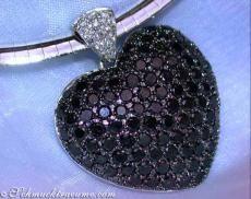 Zwarte diamanten hart hanger, WG-585