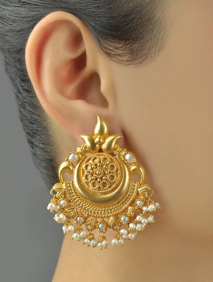 Gorgeous. indian jewellery gold pearl earrings - loved & pinned by www.omved.com