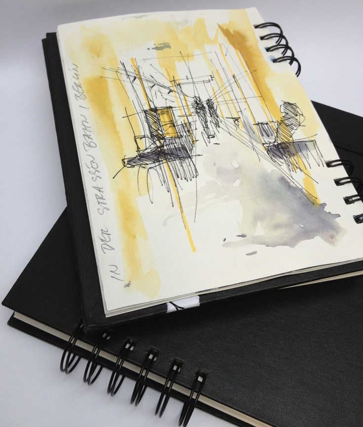 New spiral-bounded sketch book from Hahnemühle. Will be launched at Paperworld 2013. Drawings by Jens Huebner.