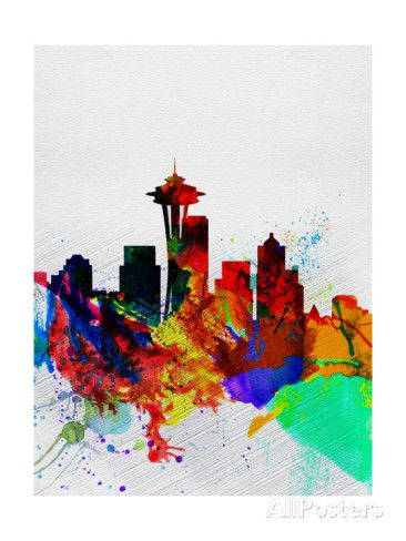 Seattle Watercolor Skyline 2 Poster by NaxArt at AllPosters.com