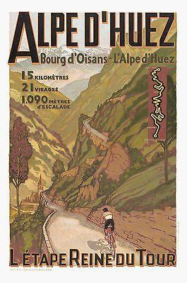 Ebay listing ALPES D'HUEZ... France... Vintage Tour De France Travel Poster A1A2A3A4Sizes