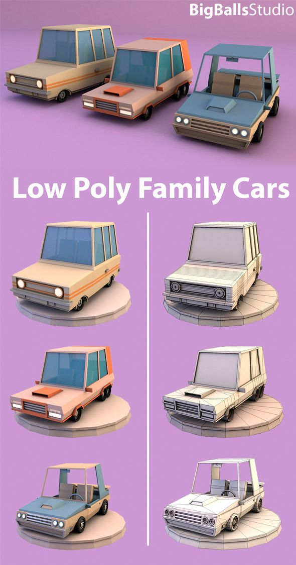 3DOcean Low Poly family cars 9939633 | 3D | Low poly car, Low poly