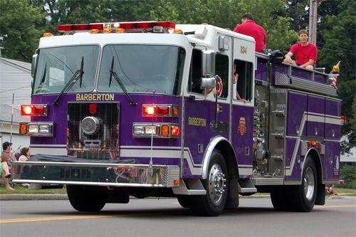 "firetruck from Barberton, Ohio....the so-called ""Magic City""...school colors: purple and white."