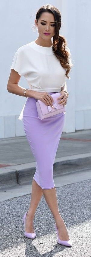 White Crop Top + Lavender Pencil Skirt