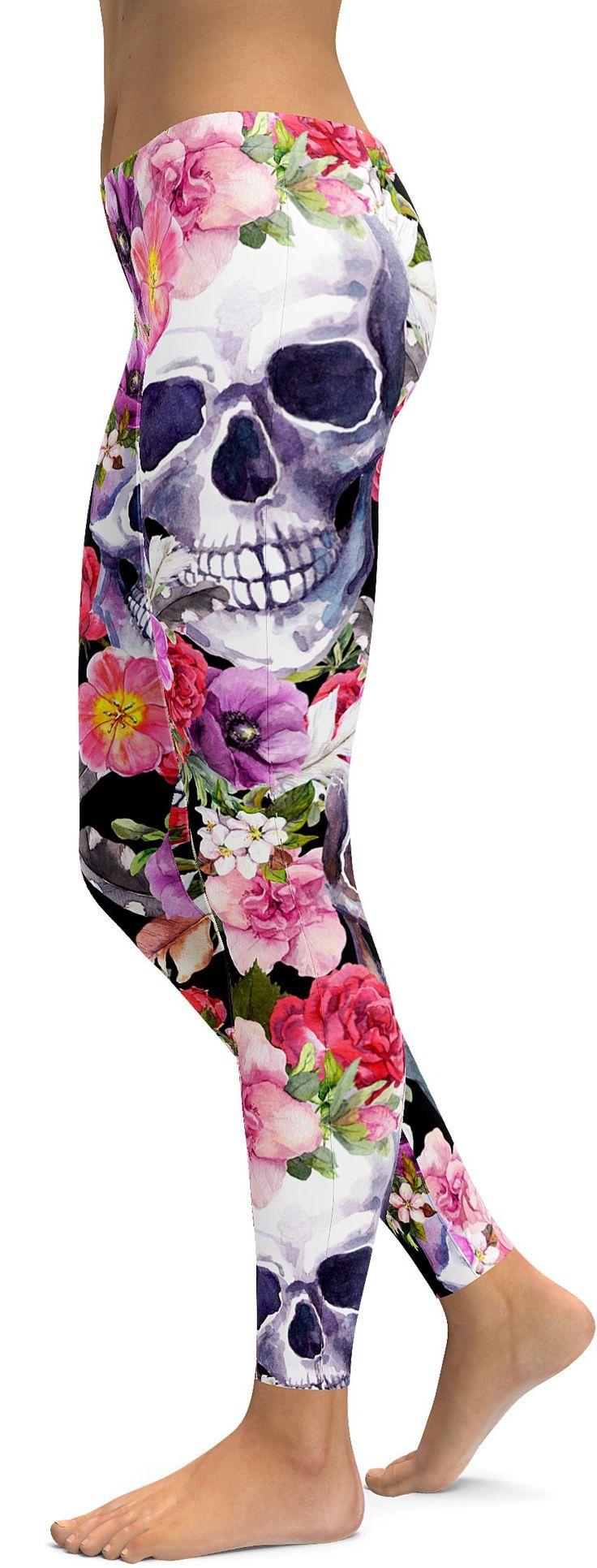 Colorful Floral Skull Leggings