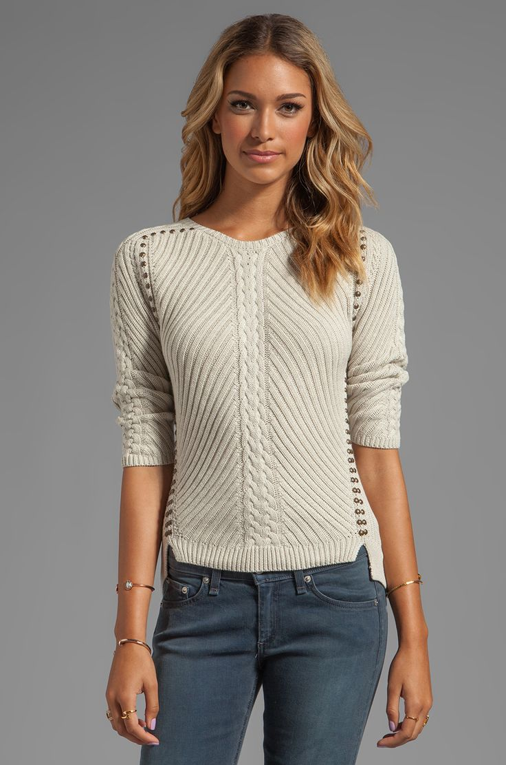 Studded Rib Cable Crew Sweater - (revolveclothing)