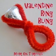 Did this for Blakes Friends, all the kids loved them, especially the girls. Milla got some in her lunch box, b/c she was sad they werent for her. I used metallic pipe cleaners to give them a little more bling effect. Cute Valentine Bling!
