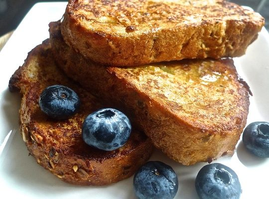 French toast, also known as eggy bread or gypsy toast is a dish of bread soaked in beaten egg batter, then fried and baked. Day-old bread is preferred as the stale bread will soak up more egg mixture.