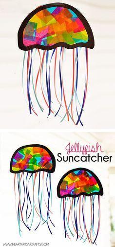 Make suncatcher jellyfish with kids. What a fun summer craft.