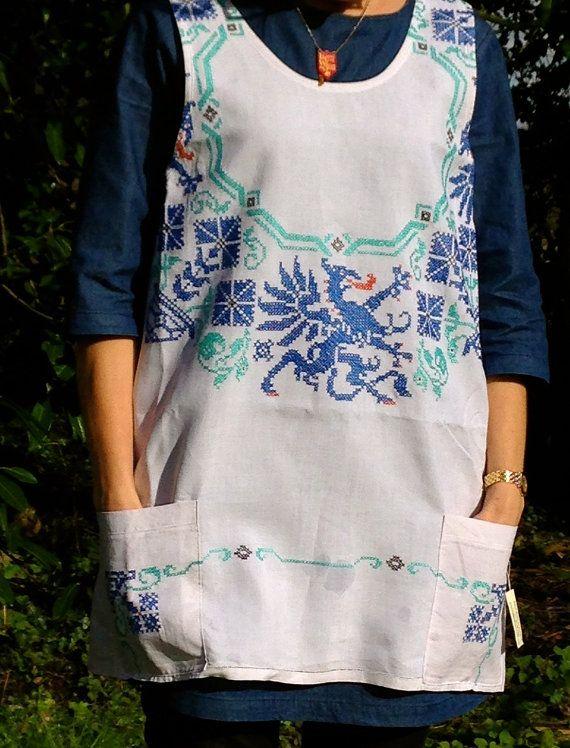 Cross Back Linen Apron 1950's Dragon Cross Stitch Japanese Blue