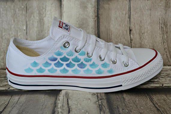 White Mermaid Sneakers Low Top Converse Ox Converse Mermaid