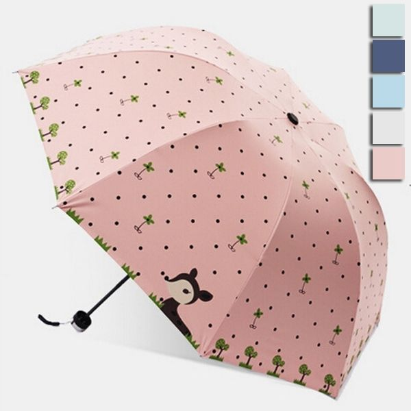 Cute Cartoon Deer Animal Lady Umbrella Fashion Anti UV Foldable Compact Parasol #Unbranded #Dome