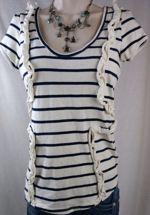 23.25$  Watch now - http://viwna.justgood.pw/vig/item.php?t=mhe67j79502 - Little Yellow Button Top Size Medium Blue Striped Classic T Womens Shirt Blouse 23.25$
