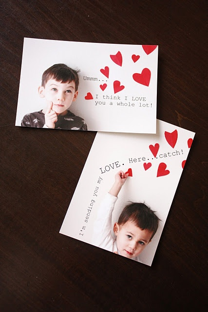 Kid Photo Valentine Cards. Sending these to Papa and Grandma!
