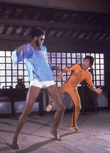 Bruce Lee in Game of Death with Kareem Abdul Jabar one of his best students and his good friend!