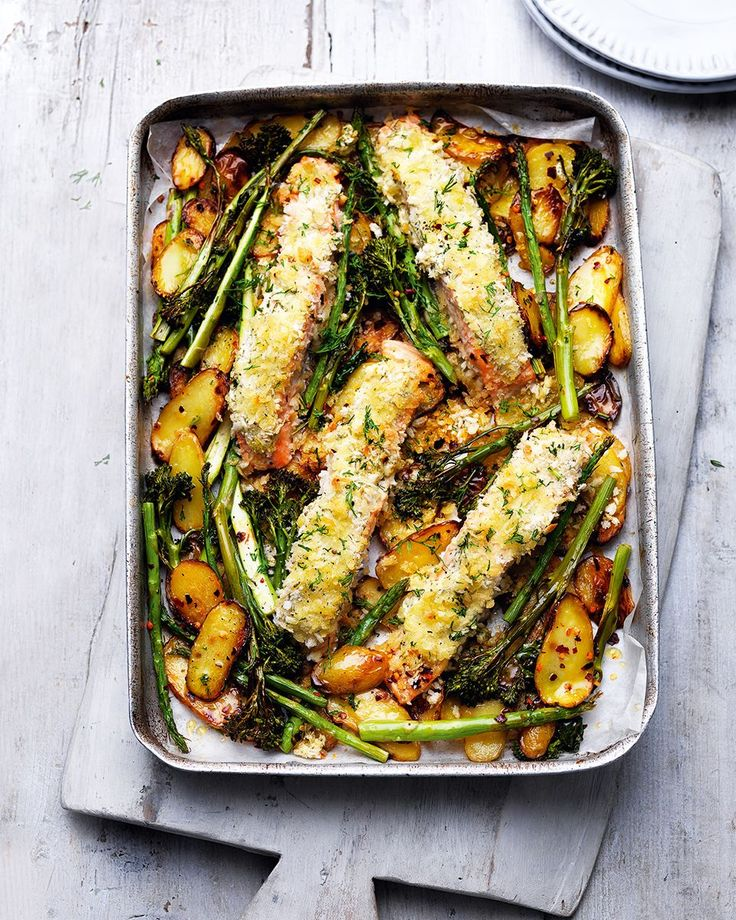 Midweek dinner couldn't be any easier than combining breadcrumb-coated salmon fillets with slice potatoes, broccoli and asparagus in one tray then popping it in the oven to bake.