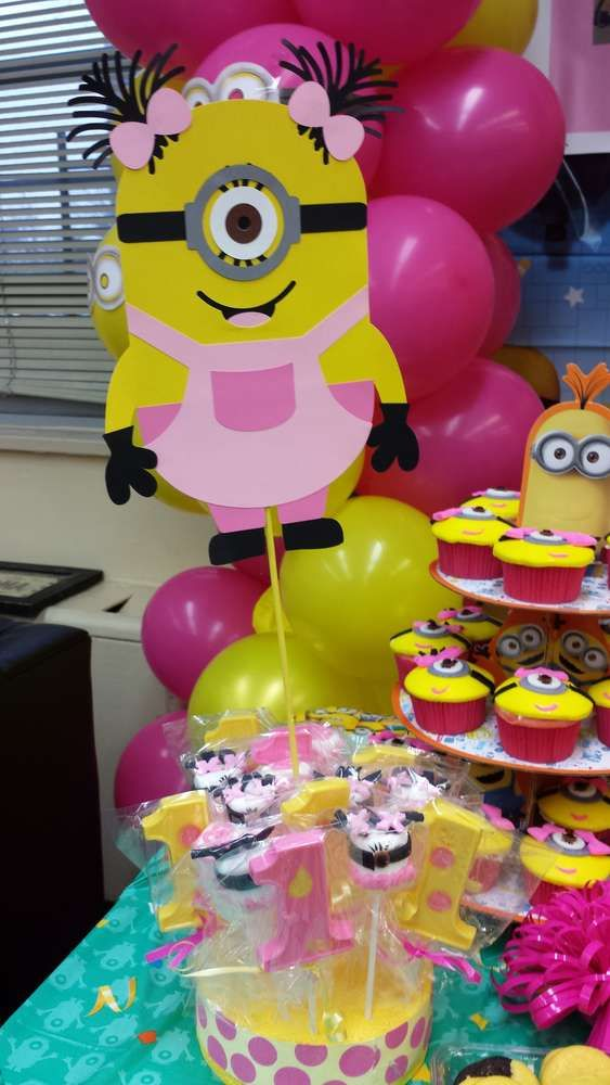 Pink and yellow girl Minion birthday party! See more party planning ideas at CatchMyParty.com!